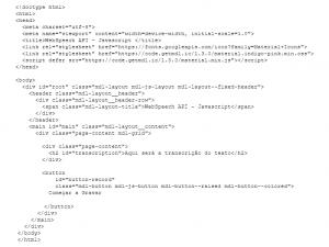código HTML transcrissão de voz Javascript